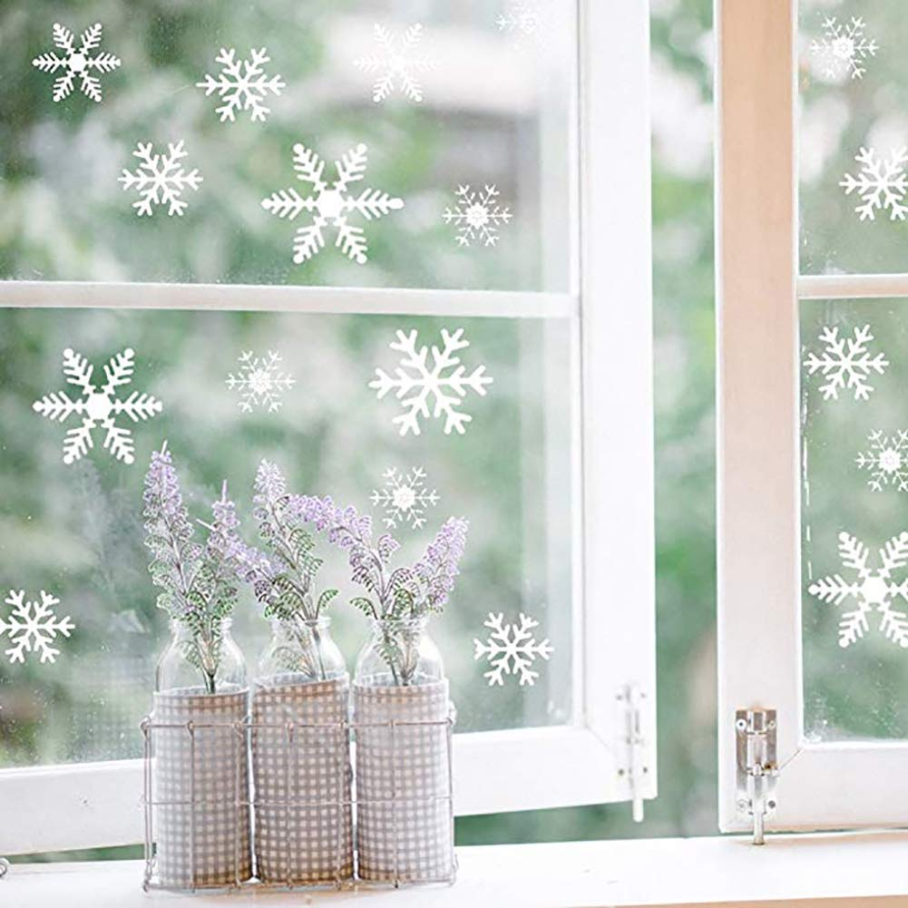 108 PCS La ventana del copo de nieve de Navidad se aferra a las pegatinas de pared de calcomaní as - Navidad/Vacaciones / Winter Wonderland Decoraciones blancas Adornos Suministros para fiestas Yuson Girl