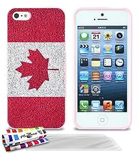 """Carcasa Flexible Ultra-Slim APPLE IPHONE 5S / IPHONE SE de exclusivo motivo [Canadá Bandera] [Rosa] de MUZZANO  + 3 Pelliculas de Pantalla """"UltraClear"""" + ESTILETE y PAÑO MUZZANO REGALADOS - La Protección Antigolpes ULTIMA, ELEGANTE Y DURADERA para su APPLE IPHONE 5S / IPHONE SE"""