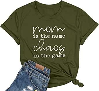 Mom Shirts for Women Mom Life T Shirt Letters Print Short Sleeve Mama Tee with Funny Sayings