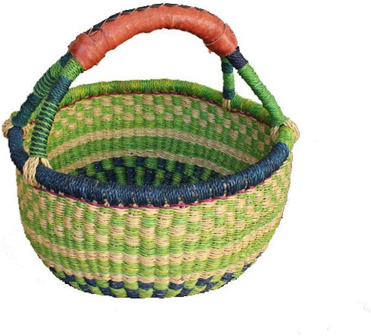 African Market Basket, Small Round Woven Straw Basket with Handle Fair Trade Storage Container