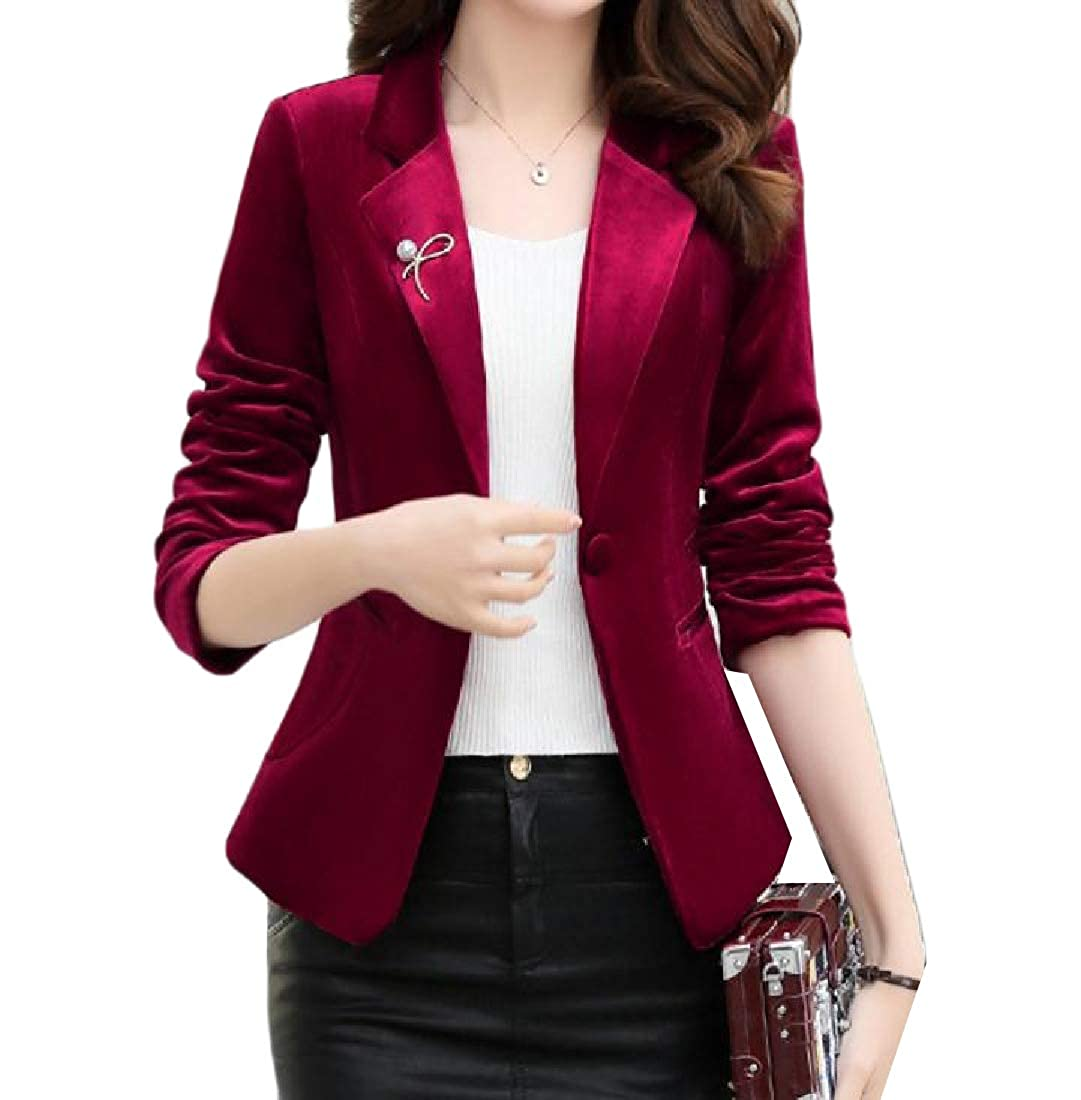 YUNY Womens Solid Premium Long-Sleeve Velvet Office 1 Button Outwear Wine Red XL