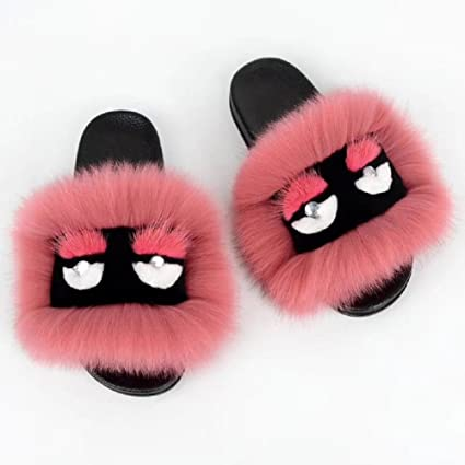 amazon com we zhe summer women fur slippers monster slides fluffy