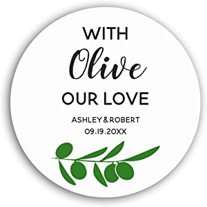 Personalized Customized Labels Tags,Customizable Stickers with Olive Our Love, Olive Oil Circle Stickers for Business Custom Made Stickers, 100 Stickers2X2