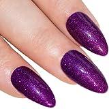 Bling Art Stiletto False Nails Gel Fake Acrylic Purple Gel Glitter Medium 24 Tips UK