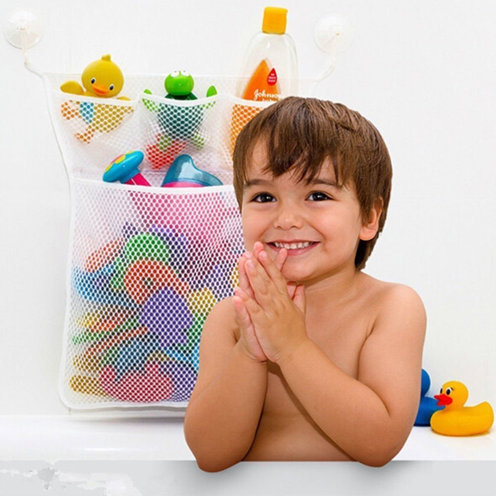 Pizies Baby Bath Bathtub Bathroom Toy Mesh Net Storage Bag Organizer Holder, Suction Cup Bag Glassleaves