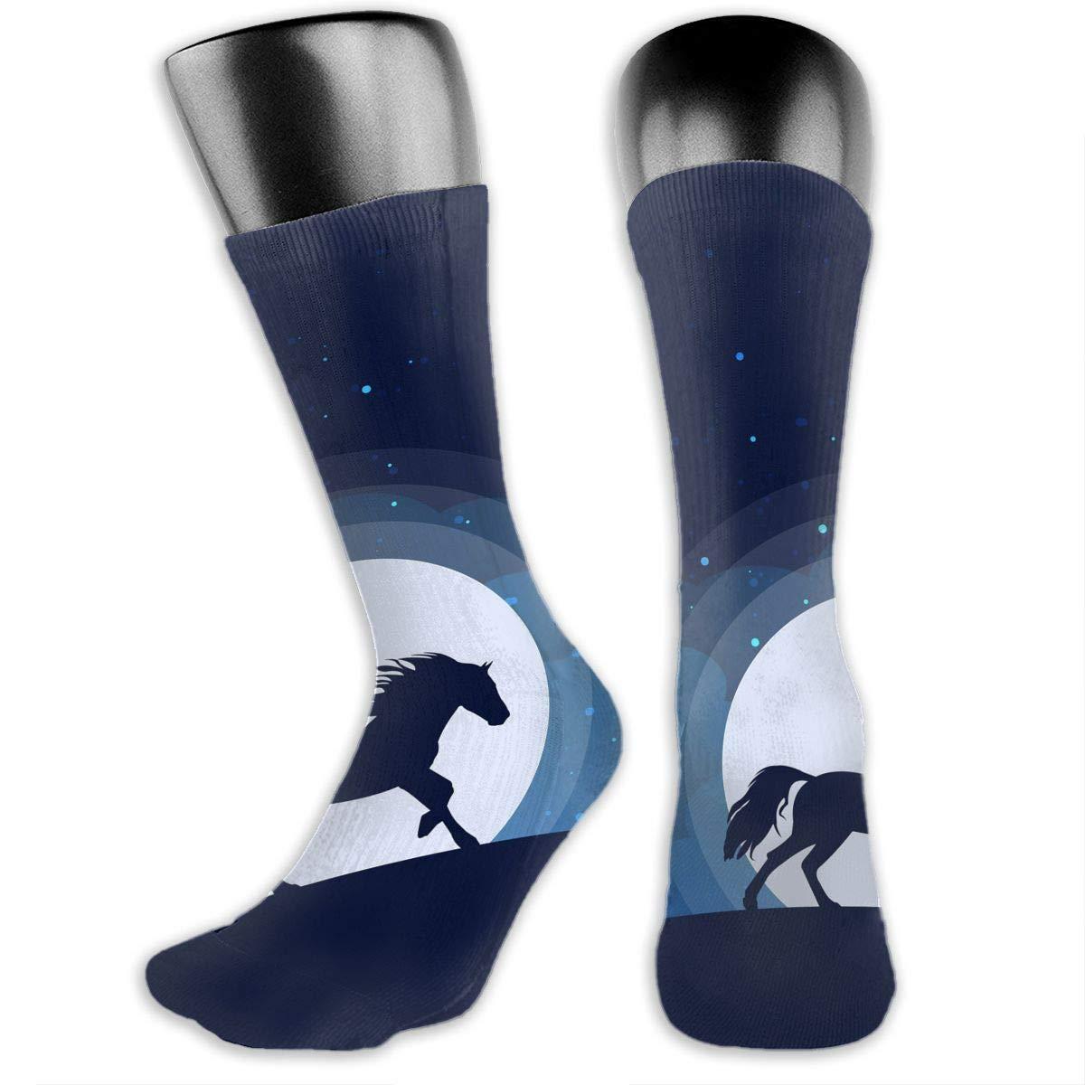 OLGCZM Moon Silhouette Blue Dark Horse Men Womens Thin High Ankle Casual Socks Fit Outdoor Hiking Trail