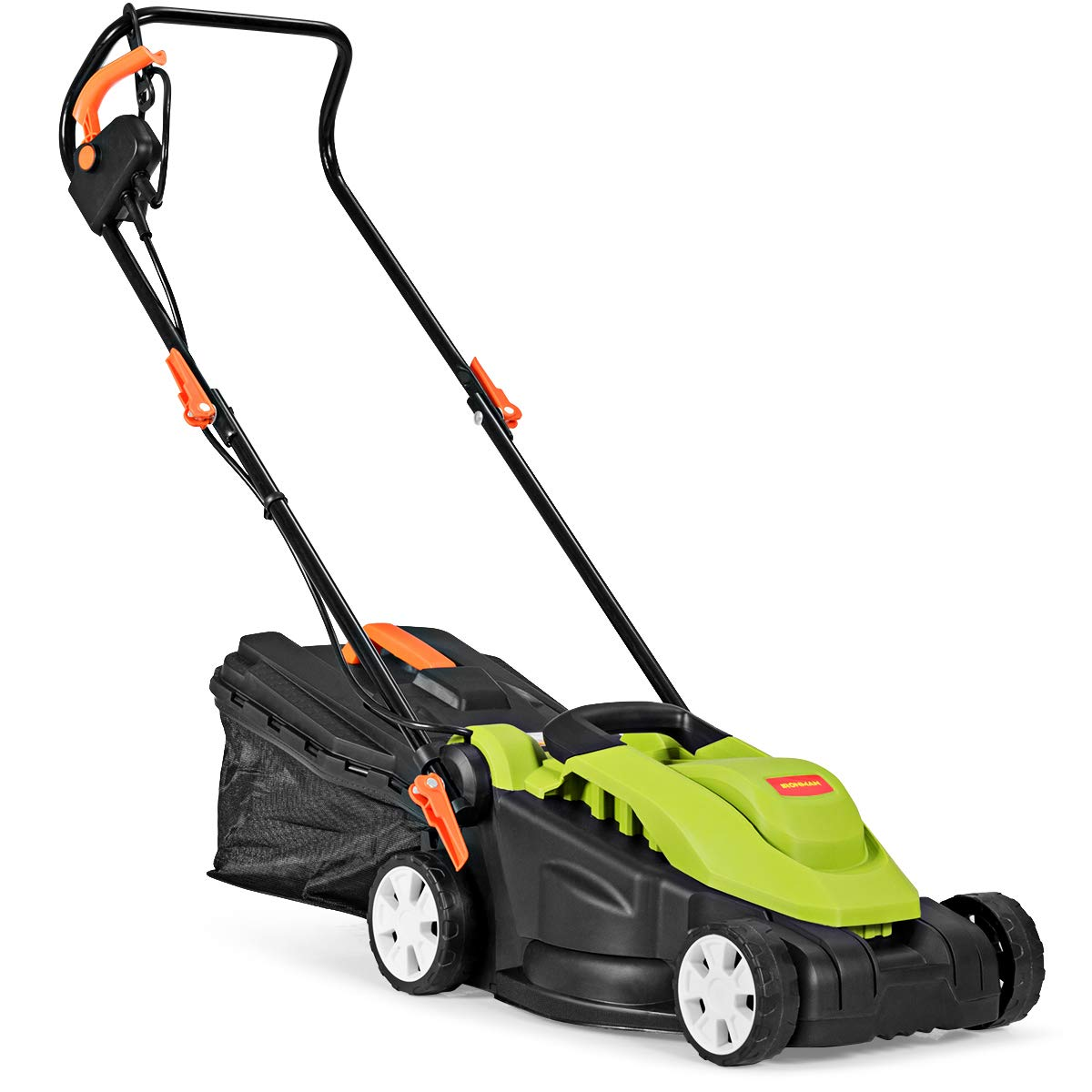 Goplus Electric Lawn Mower w/Folding Handle and Detachable Collection Box, 14-Inch 10Amp Height Adjustable Corded Mower, Green by Goplus