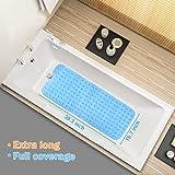 Wimaha XL Bathtub Mat, Bath Shower Mat Non Slip for Bathroom, Machine Washable, Ideal for Kids Toddler Senior, 39 x 16, Blue