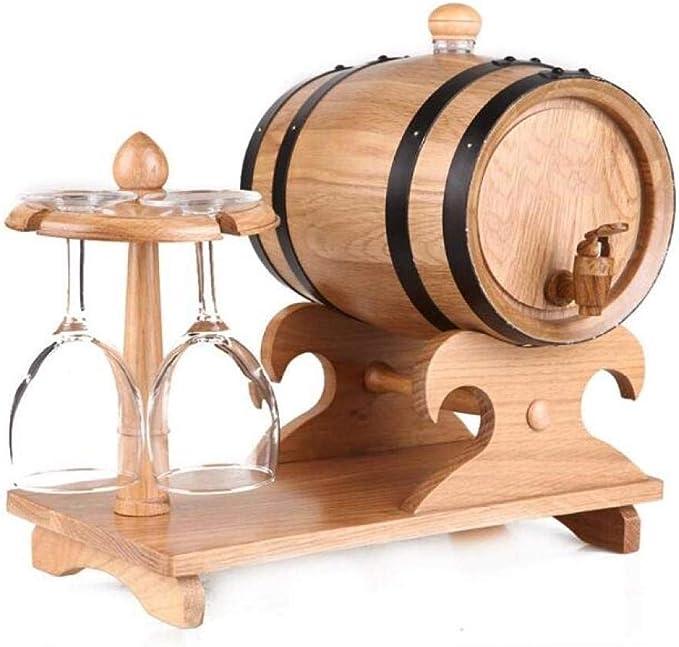 QHY Estante para Vinos, Barril de Roble de 5 litros, Portavasos ...