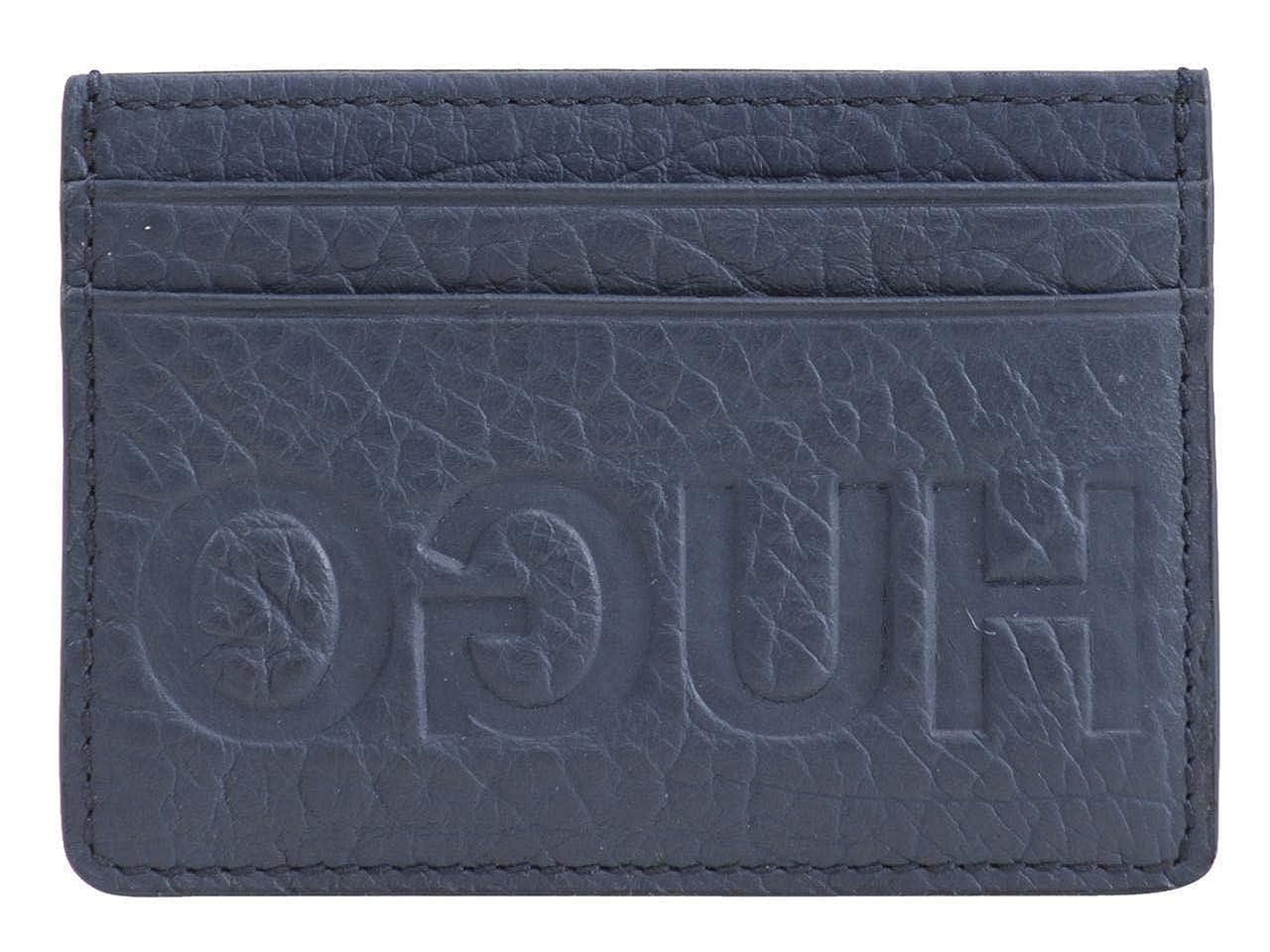 Hugo Boss mens standard Victorian Hugo Logo Leather Card Holder Dark Blue One Size HUGO by Hugo Boss 50402993