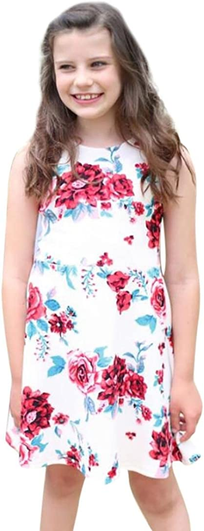 JERFER Blumendruck Sommerkleid /Ärmelloses Kleid Familie Kleidung Mom /& Me Baby Kind M/ädchen