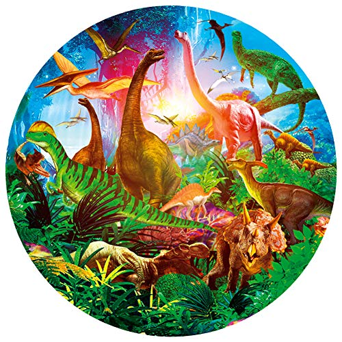 Bgraamiens Puzzle- Dinosaurs World-1000 Pieces Jigsaw Puzzle Rich Color Challenge Round Jigsaw Puzzles