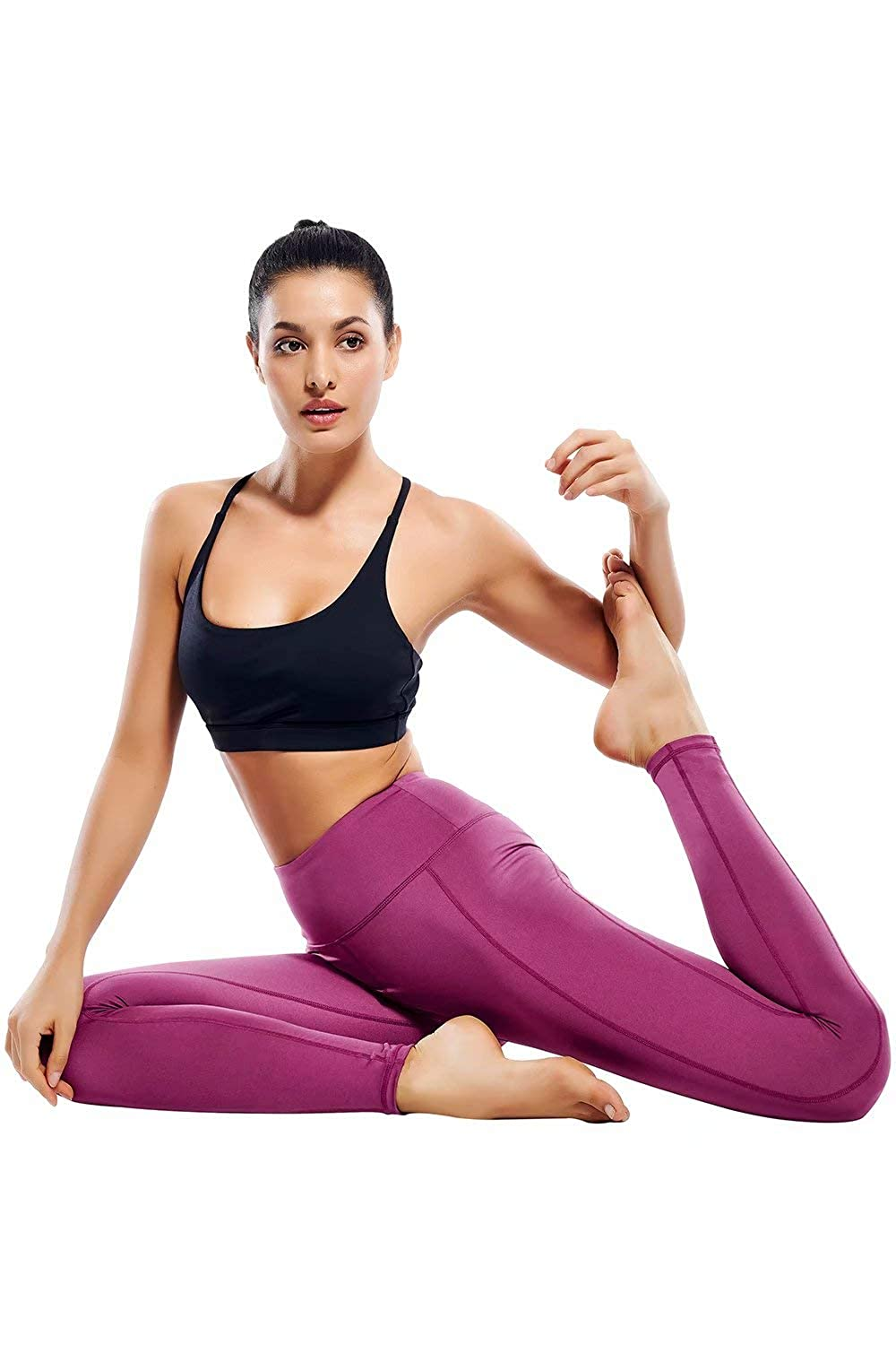 Womens Workout Leggings with Pockets High Waist Athletic Running Leggings Ankle Length Yoga Pants for Women