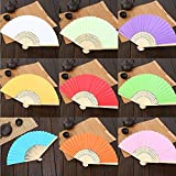 Chris.W 10Pack Colorful Paper Folding Fans with Bamboo Ribs - Hand-held Foldable Fan Bridal Dancing Props Church Wedding Gift Party Favors Home Office DIY Decor - Mixed Colors