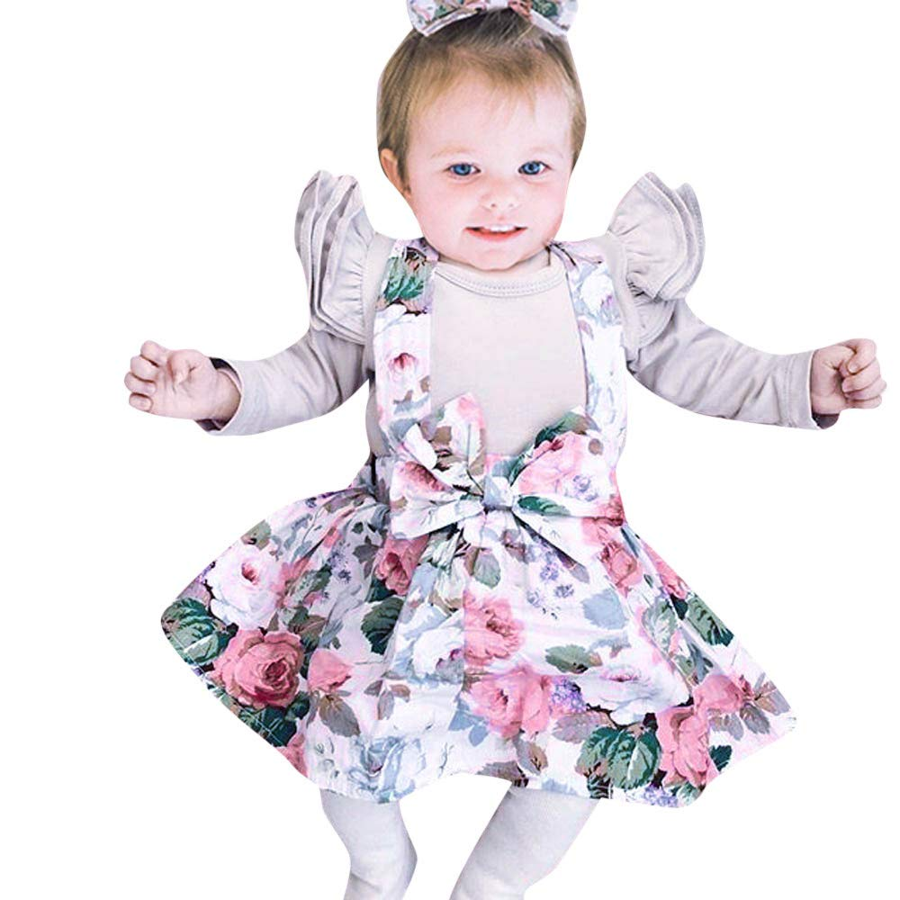 NUWFOR Newborn Baby Girls Long Romper+Flowers Paint Dress+Headband Set Clothes Outfit(Gray,18-24 Months