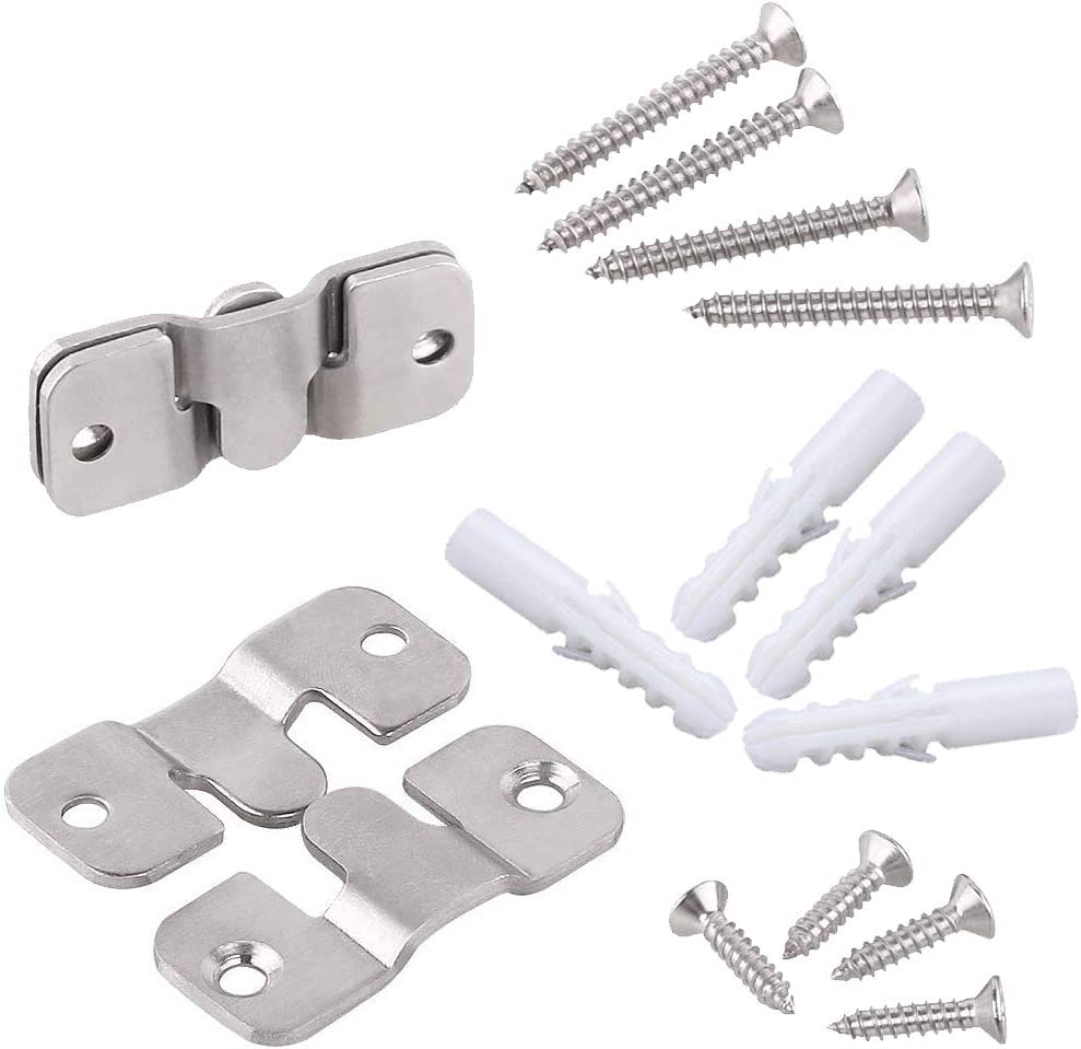 2 Sets Furniture Flush Mount Bracket-Headboard Wall Mount Hardware-Large Picture Hangers-Mirror Hook Matching Hook-Stainless Steel Interlocking Z Clips (Small,with Screws and Expansion Plastic Plug)