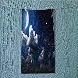 hiking towel Celestial Solar Night Scene Stars and Clouds Heaven Place in Cosmos Theme resort,hotels/Motels,gym use W11.8 x H27.5 INCH