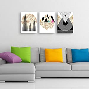 Gardenia Art-Geometry mountain wall art Minimalist Painting Decorations for Bedroom Office 12x16 inch/Piece,3 Panels,Stretched and Framed