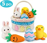 Ivenf My First Easter Basket Playset, 5ct Stuffed Plush Bunny Chick Carrot Egg for Baby Girls Boys, Easter Theme Party Favor