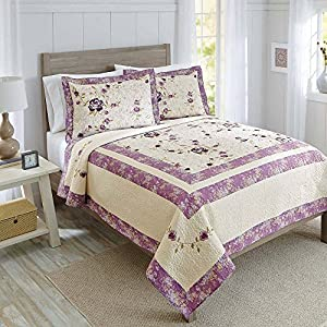 Super Soft, Beautiful, Soothing Floral Better Homes And Gardens Purple  Blossom Cotton Quilt Collection, King