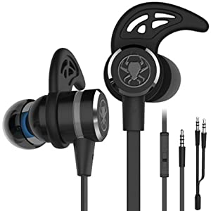 Wired E-Sport Earphone Noise Cancelling Stereo Bass Gaming Earbuds Headphone Headset with Mic, KEKU 3.5mm HiFi Earbuds with Extension Cable and PC Adapter for PC, Laptop and Cellphones (Black)