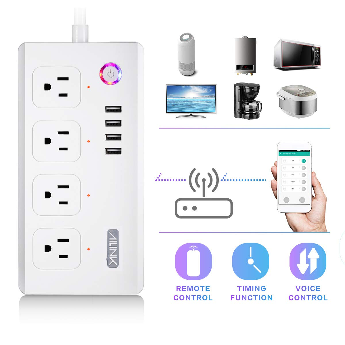 WiFi Power Strip Work with Alexa Smart Power Board AILINK Timer Schedule, Surge Protector with 4 Outlets and 4 USB Ports White by AILINK (Image #5)