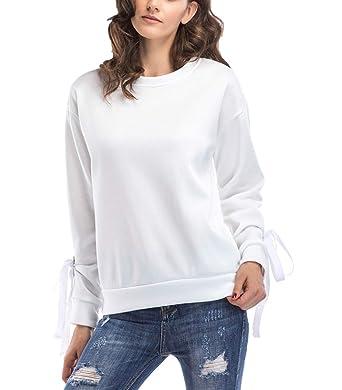 da44047637ad22 LAIKETE Felpa Donna Senza Cappuccio Crop Tops Eleganti Pullover Autunno  Inverno Camicie Blusa Felpe Tumblr Sportiva Casual Manica Lunga Rotondo  Collo ...