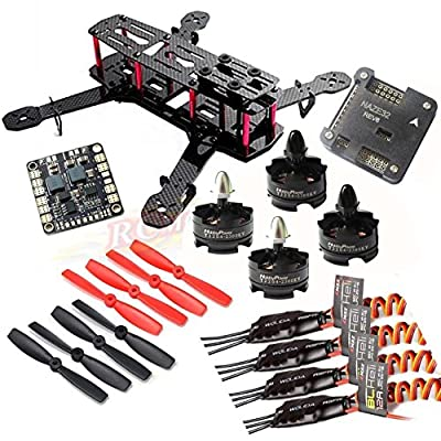 Hobbypower DIY 250 Mini Quadcopter Frame Kit + HP T2204 2300KV Motor +BLHeli 12A ESC + NAZE32 6DOF Flight Controller +5045 Propeller