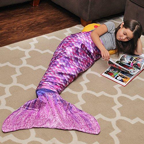 MERMEE - Girl's (3-12 years old) Purple Pink Mermaid Tail Blanket - Super Soft All Season Cozy Blanket - Vibrant Scales