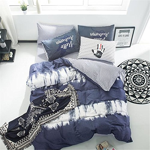 VClife Duvet Cover Sets Twin Kids Bedding Sets Navy White Gr