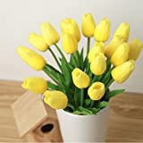 kingtoys® 10PCS PU Mini Tulip Fiore Artificiale Real Touch Latex Tulipano per la cerimonia nuziale per la decorazione domestica (Giallo)