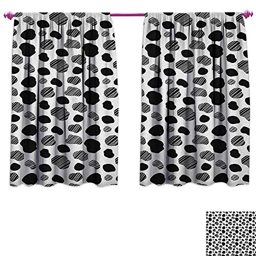 homefeel Cow Print Room Darkening Wide Curtains Black and White Striped Dots with Abstract Style Farm Animal Hide Agriculture Customized Curtains W55 x L39 Black White