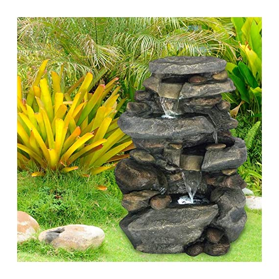 Outdoor Water Fountain With LED Lights, Lighted Cascade Waterfall, Natural Looking Stone and Soothing Sound for Patio and Garden Décor By Pure Garden - UNIQUE OUTDOOR DÉCOR WITH LED LIGHTING- This nature-inspired LED-lit cascade water fountain is truly an ideal blend of contemporary modern design, natural elements, and rustic charm, and it offers the tranquil and meditative sounds of running waters for a calming ambiance. The LED lights also help to illuminate the waters and offer a peaceful nighttime glow. With the water gently cascading over natural-looking stone tiers, the waterfall fountain is sure to be a vivid focal point on your patio, DURABLE DESIGN- Enjoy your outdoor, lawn, garden, or yard décor without worry. Made from sturdy polyresin material, this fountain is lightweight and weatherproof for longer lasting outdoor use. LOW MAINTENANCE AND EASY SET UP- The Pure Garden water fountains require no additional plumbing, stressful setup, or upkeep. Including a UL listed pump with 120gph maximum flow, all you need to do after assembly is fill it with the proper amount of water, and plug it in to a standard electrical outlet, and you are ready to enjoy the delightful sounds of nature. - patio, outdoor-decor, fountains - 61vxL2NqBaL. SS570  -