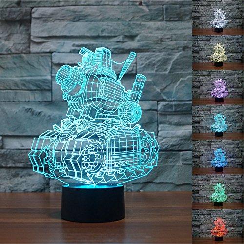 SUPERNIUDB Model Tanks Metal Slug Advance Lamp 3D Night Light Table Desk Optical Illusion Lamps 7 Color Changing Lights
