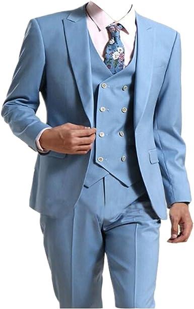 TPSAADE 5 Stücke Männer nehmen passende Anzug helle Blaue Hochzeitsfest BräutigammännerGroomsman Anzüge Jacken Größe 44 60 Hose Größe 28 44 nach Maß