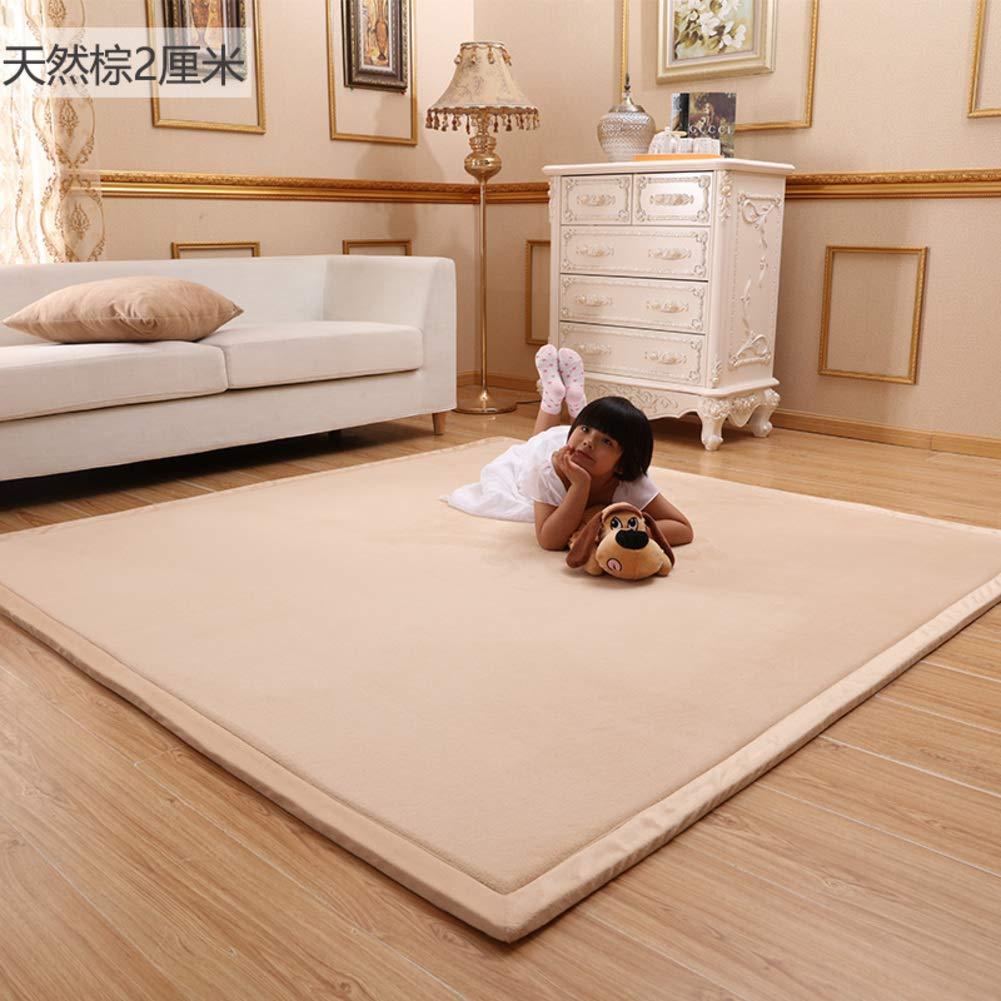 DM&FCS Thickness 2cm Baby Play Mat, Ultra Soft Coral Velvet Carpet Crawling Mat Japanese Futon Tatami Mat Sleeping Living Room Bedroom Area Rug-Khaki 200x100cm(79x39inch) by DM&FCS