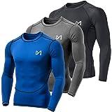 MEETYOO Camiseta Compresion Hombre, Ropa Deportiva Manga Larga Base Layers para Running Gym Ciclismo