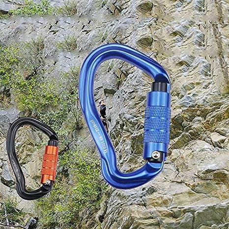 color azul Mosquet/ón de bloqueo autom/ático 23Kn en forma de oreja con hebilla de seguridad para escalada Iycorish