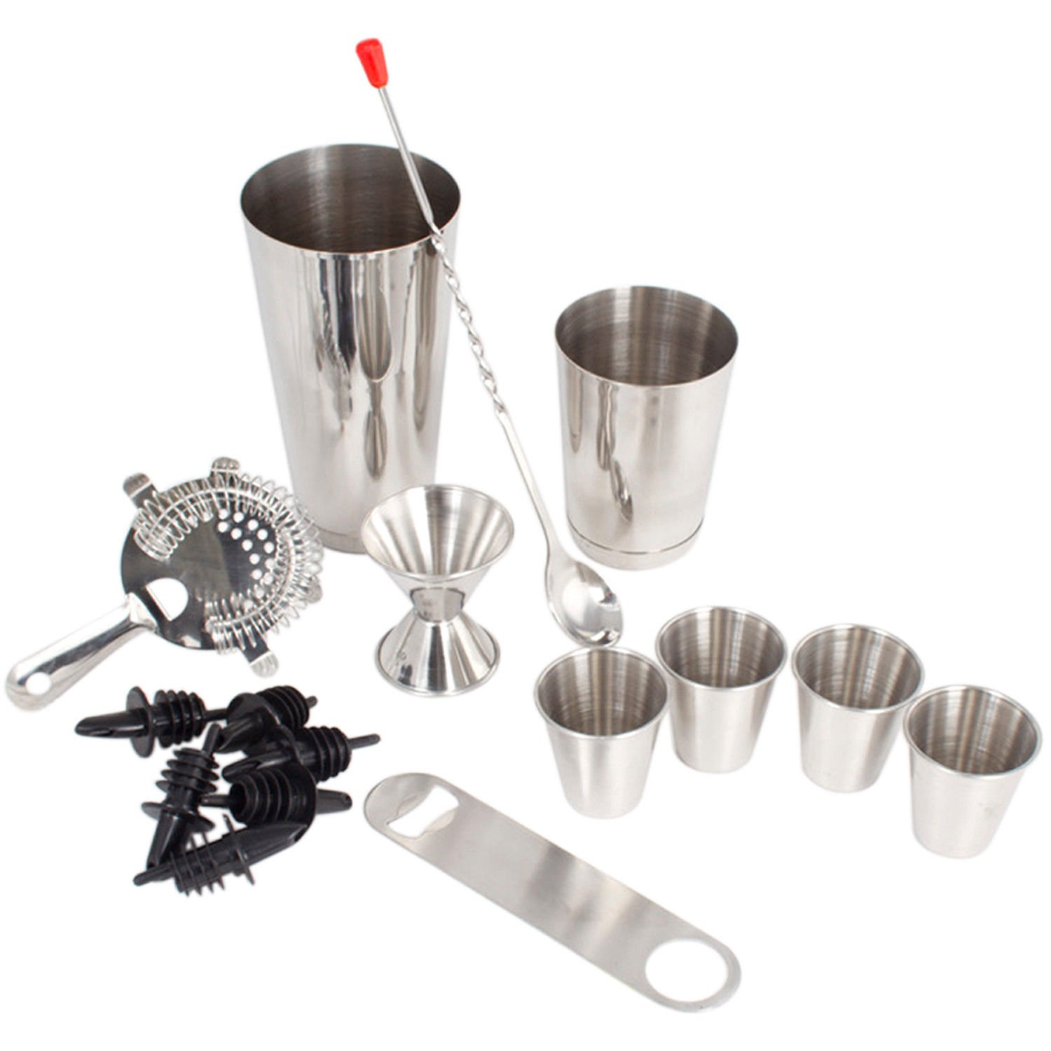 16 Pcs Cocktail Shaker Home Bar Set – Complete Bartender Kit with Double Bar Jigger, Pour Spouts, Drink Shaker, Hawthorne Strainer, Bar Spoon, Bottle Opener and Tin Shot Glasses by Lexi Home (Image #9)