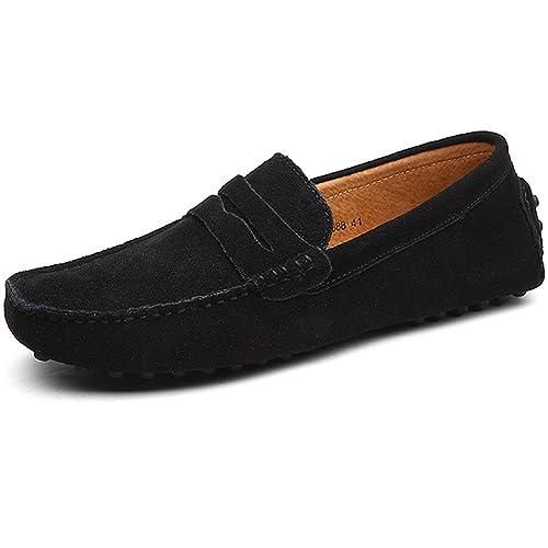 Jamron Hombres Clásico Original Cuero de Gamuza Mocasines Confortar Zapatos de Conducir Ponerse Planos Mocasín Zapatillas Negro 2088 EU42: Amazon.es: ...