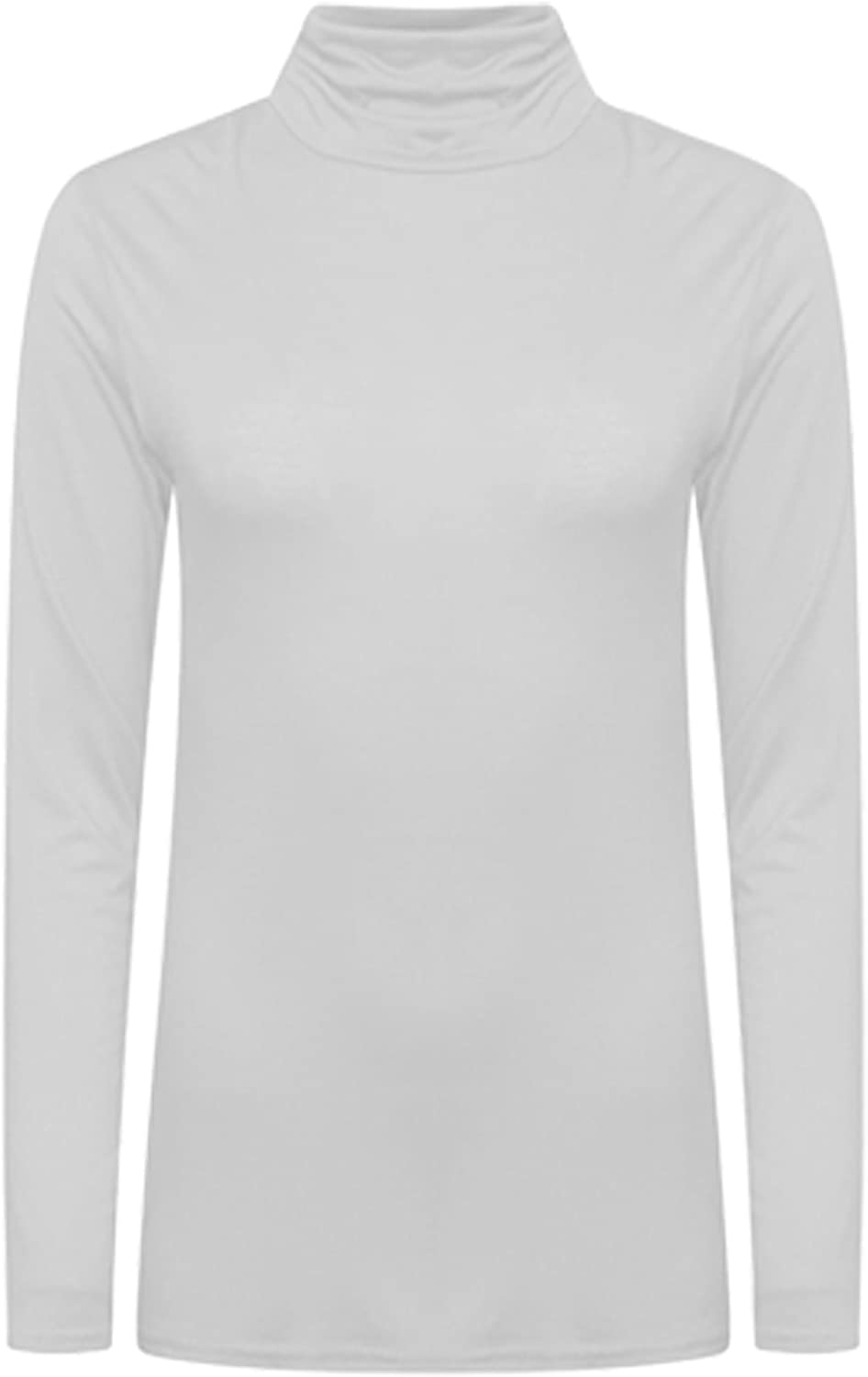 Womens Ladies Polo Roll Neck Long Sleeve Turtle Neck Plain Jumper Top 8 26 Stretch T-Shirt Tee Vest