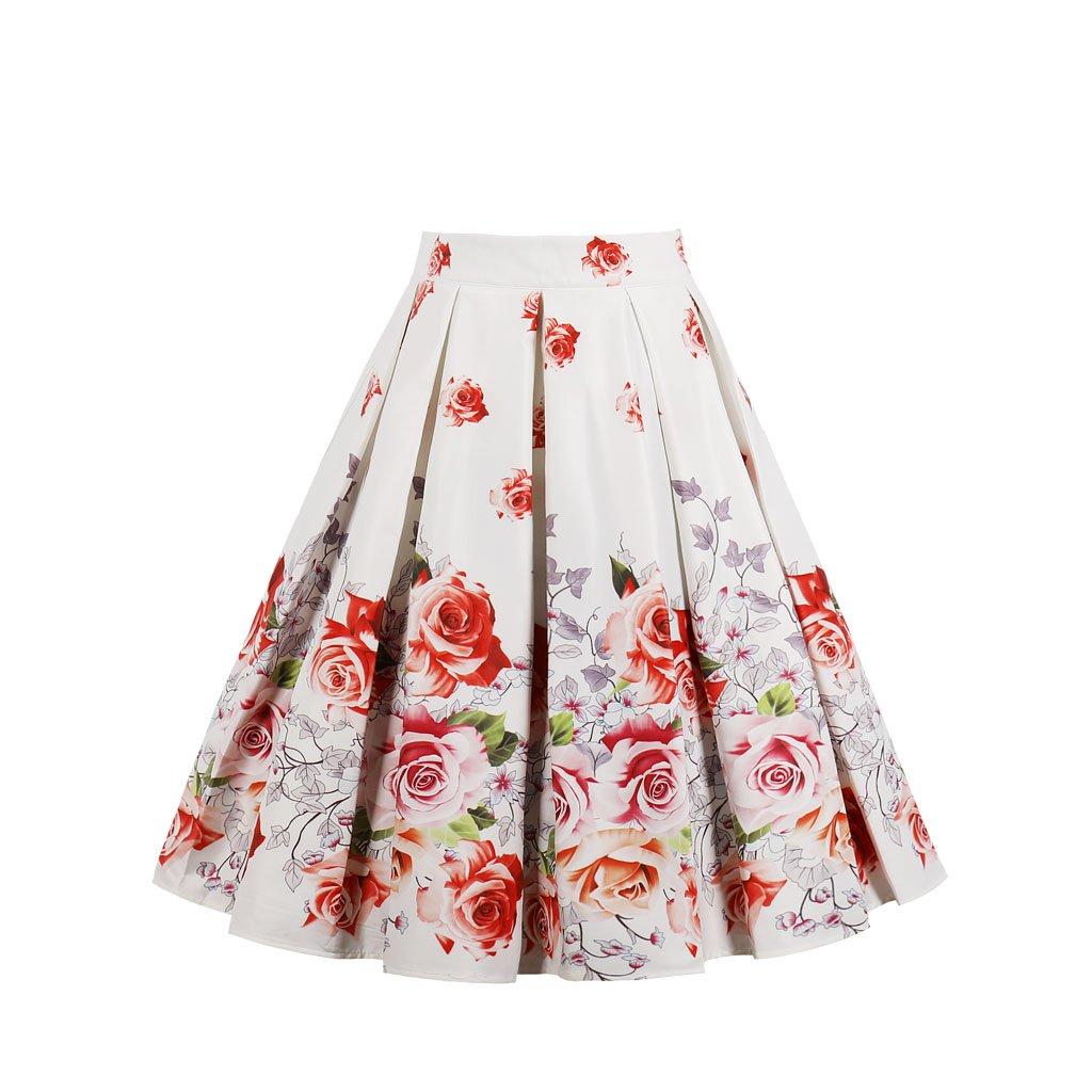 RIZ-ZOAWD 1950s Style Vintage Skirt Floral Swing Full Circle Pleated Skirts Knee Length Short Skirt (Red Rose, S)