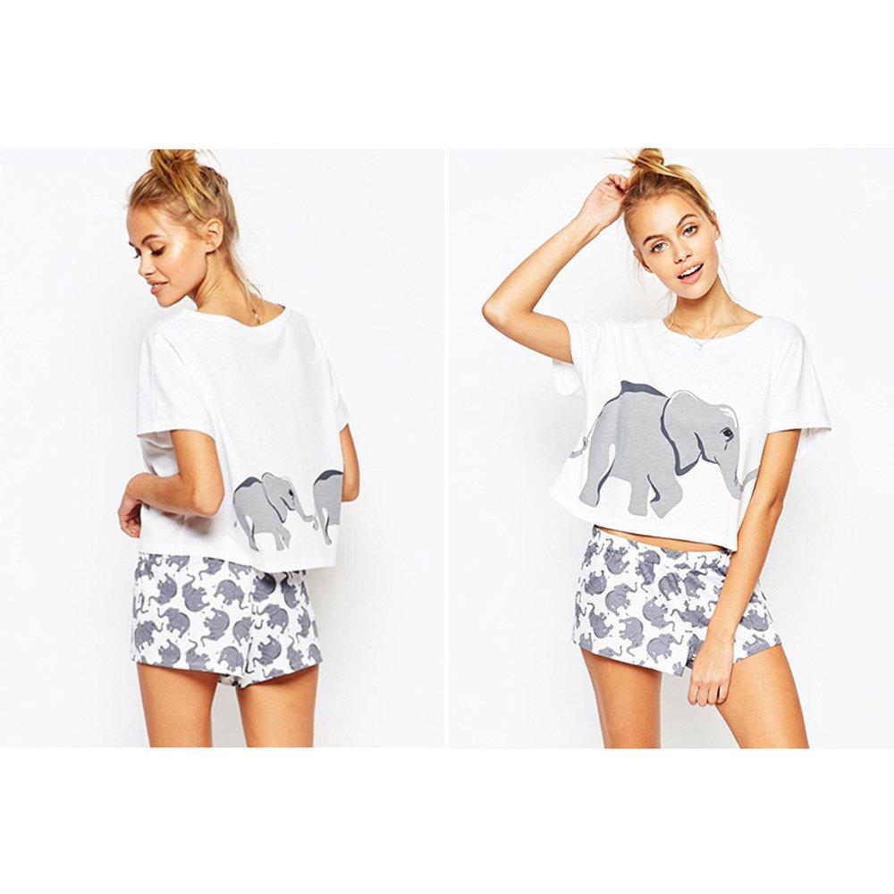 Sets Elephant T Shirts Women Graphic Funny Cute Crop Tops Shorts Pajamas  Juniors Teen Girls at Amazon Women s Clothing store  ab8537816