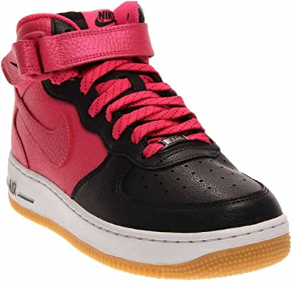 NIKE Kids Air Force 1 Mid (GS) Basketball Shoe (7 Big Kid M, BlackVivid Pink White)