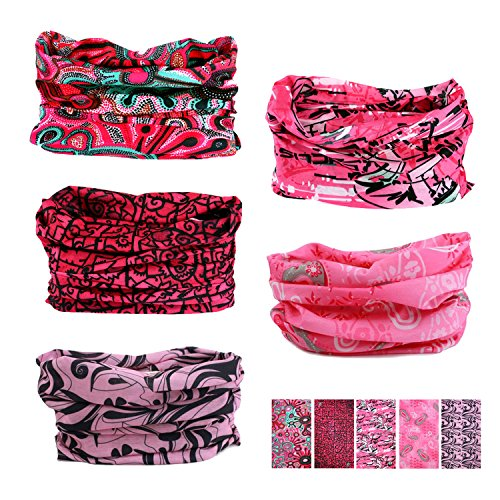 Oureamod Wide Headbands for Men and Women Athletic Moisture Wicking Headwear for Sports,Workout,Yoga Multi Function (Pink series)