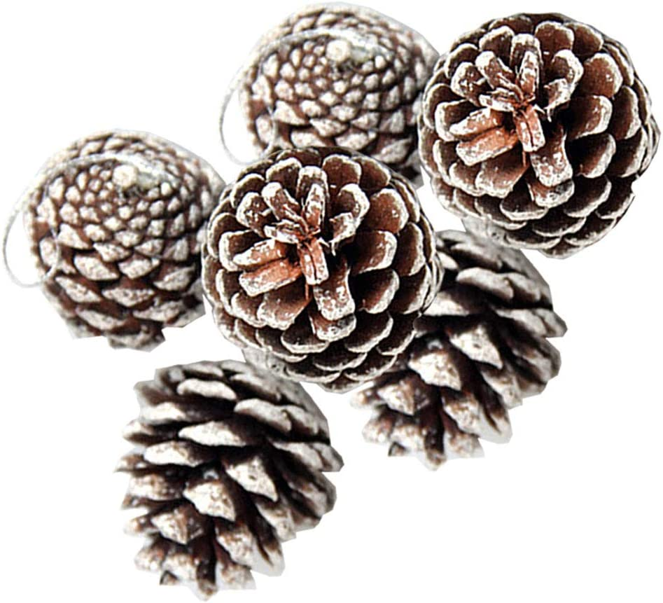 FurRain 24 PCS Pine Cones for Christmas Tree Snowflake Natural Pinecones Ornament with String Pendant Crafts for Xmas Party Home Decor Fall Winter Holiday Christmas Tree Decoration (24)