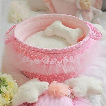 YYZ Princesa Cama para Perros, Suave Confortable Mantener Caliente Cordón Desmontable para Gatos y Perros