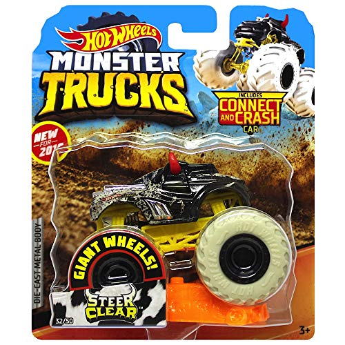 Camiones Monster Steer Clear White Giant Wheels con Connect & Crash Car