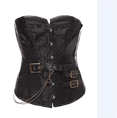72970117ed AIZEN Women s Steampunk Retro Steel Boned Corsets Bustiers Gothic Punk Waist  Cincher Shapewearop Plus Size Black