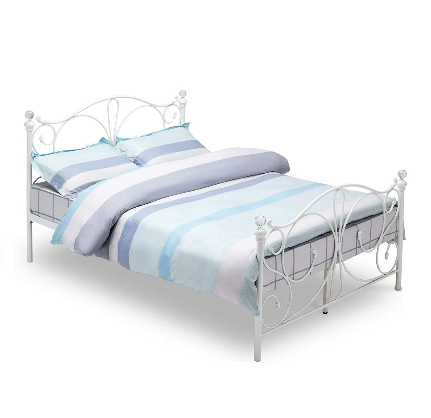 Mecor Double White Metal Bed Frame Crystal Finials with Headboard Footboard and Wooden Slat Support (4FT)